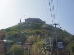 Pohľad na hrad v Mukačeve, ktorý sa týči 68 m nad okolitou krajinou