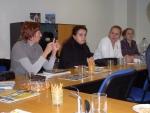 počas diskusie (zľava) p. Mariia Luksha, p. Svitlana Hanych, p. Kseniya Okhotnik a  p. Oksana Shyshkanych